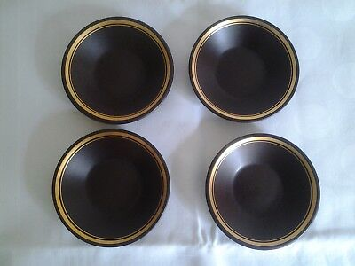 Set 4 small vintage Purbeck Pottery brown  shallow bowls