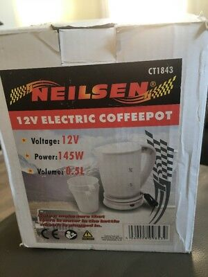 12V Volt Car Van Travel Kettle Coffee Pot Including Cups Electric Water Kettle