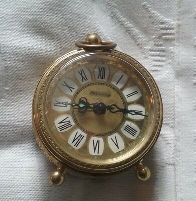 Blessing West German Hand Wind  Brass Alarm Clock, Good Working Order