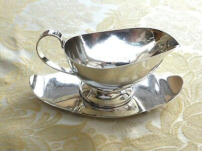 Vintage Silver Plated Gravy/sauce Boat With Ball Feet Drip Tray   1390825/828