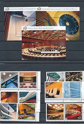 39202/  UNO ** MNH Lot Mixture 70 Jahre UNO mit Blocks