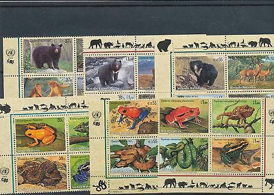 39215/ UNO NY , Wien, Genf ** MNH Lot / Mixture 4er Blocks Fauna Tiere Animals