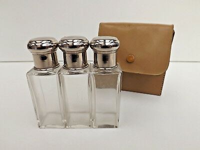 Vintage 1920s-30s Mens Travelling Bottle Set In Leather Case