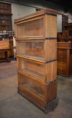 Rare Antique Macey Oak 4 Section Barrister Lawyer's Bookcase