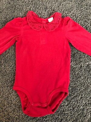 H&M Baby Girls Red Lace Collar Long Sleeve Bodysuit Vest Christmas Size 12-18