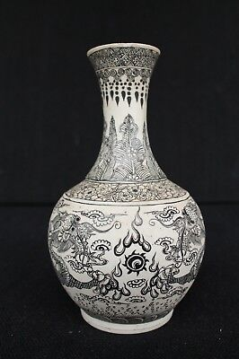 Rare Guangxu mark & Period Biscuit vase with black decoration of dragons / pearl