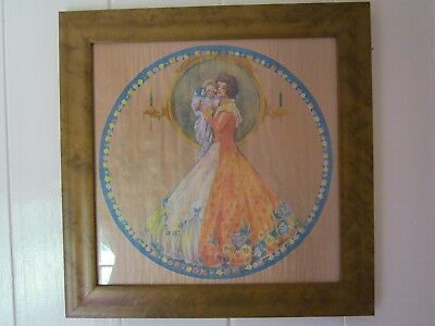 Beautiful Pair Antique Art Deco MARYGOLD Lithograph Pith Paper Print VERY RARE