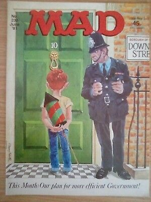 mad magazine uk June 1981 issue 230 10 downing street fan birthday gift politics