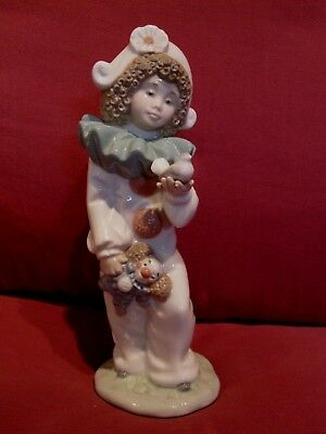 Beautiful Vintage Lladro Nao Figurine Girl Clown With Bird And Toy Clown