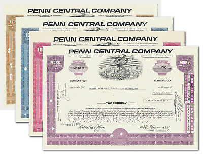 Set of 4 Colors Penn Central Stock Certificates Issued, Railroad PC NYC PRR NH