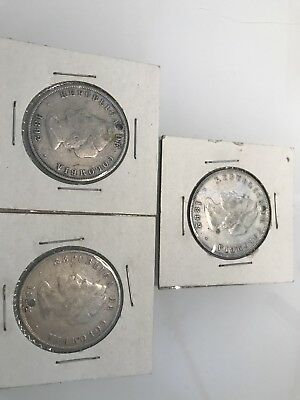 1892 Colombia 50 Centavos Silver 400th Anniversary Commemorative Coin - Lot of 3