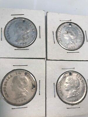 COLOMBIA BOGOTA 50 CENTAVOS SILVER - Lot of 4 coins (1906-1908)