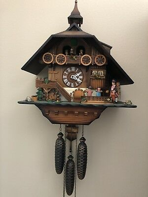 Vintage Large Hubert Herr Black Forest Cuckoo Clock Chalet Dancers German