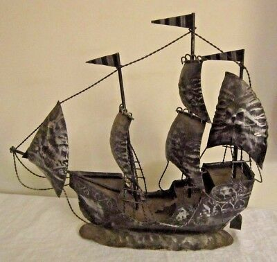 """Antique Large Pirates Ship Boat Model Metal Nautical Twisted Wire 17"""" W Folk Art"""