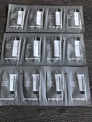 Dermalogica dermal clay cleanser samples Sachets x8 & Charcoal Rescue Masque X4