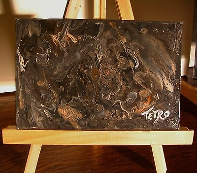 Abstract Painting by TETRO. Acrylic Poured/Liquid Flow Paint. TOURMENT  4 x 6
