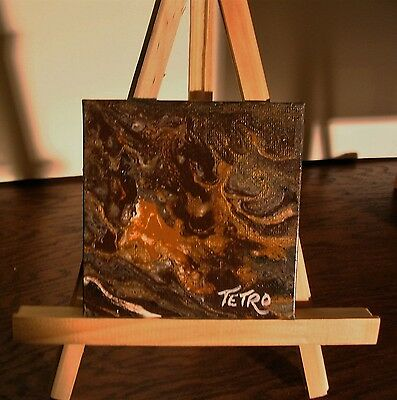 Abstract Painting by TETRO.Acrylic Liquid/Flow Paint.Melting Gold/Fonte d'Or 4x4