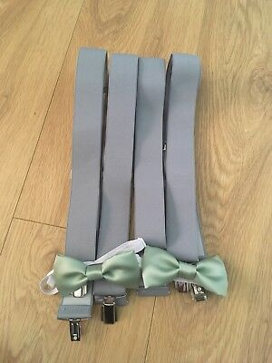 1 Set Boys Mint Green/sage Bow Tie And Braces/suspenders Age 7-12