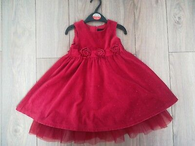 Baby Girl Red Next Signature Christmas Dress 12-18 Months