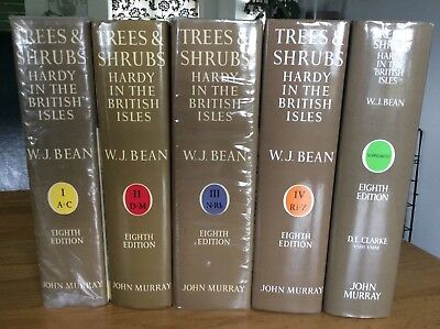 Trees and shrubs by w.j.bean 5 books eight edition