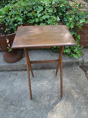 Vtg Handmade Solid Wood Fold Out Child Porch Entertain TV End Table Plant Stand
