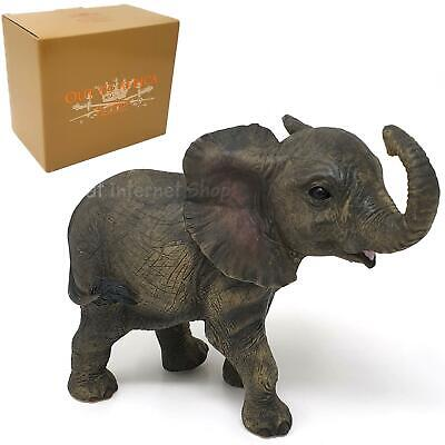 African Elephant Calf Figurine Decorative Resin Wild Animal Ornament Gift Boxed