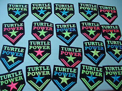 Vintage lot of 20 Embroidery Iron On turtle power Patch