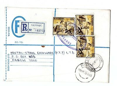 1995 Botswana Registered envelope from Nkange to S Africa, Label & purple oval