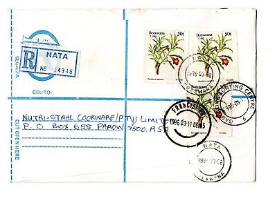 1996 Botswana Registered envelope from Nata to S Africa with Label and cds
