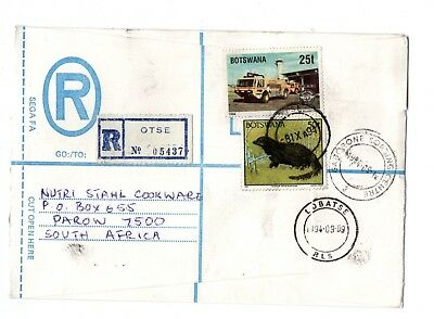 1994 Botswana Registered envelope from Otse to S Africa with Label