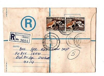 1983 Botswana Registered envelope from Ramokgwebane to S Africa bird stamps