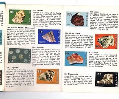 1974 Botswana full minerals & rocks definitive set in passport style booklet