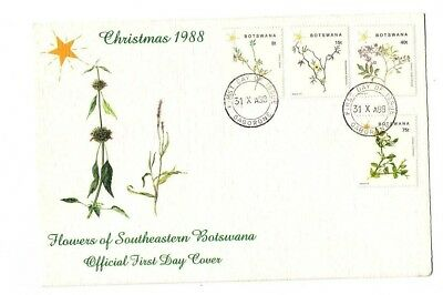 Botswana 1988 Christmas flowers set on FDC (with official insert)