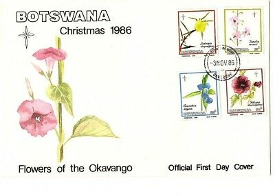Botswana 1986 Christmas flowers set on FDC Gaborone cds,with official insert