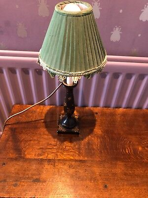 Quality unique floral & butterfly lamp, with silk green, and ivory lamp shade