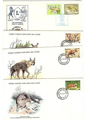 Botswana 4 covers (3 FDC) with animal (WWF) & frog stamps on