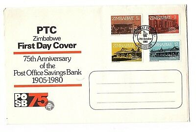 1980 Zimbabwe 75th Anniversary of Post Office Savings Bank FDC with card insert