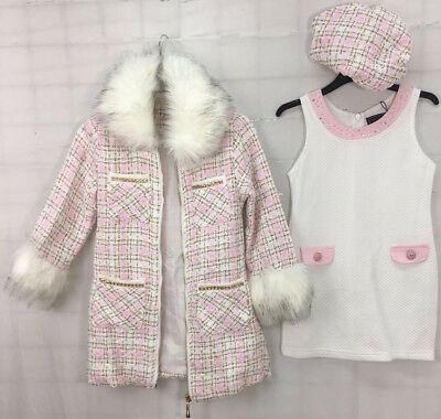 girls kids 3 piece outfit faux fur coat dress hat pink white gold age 1-12