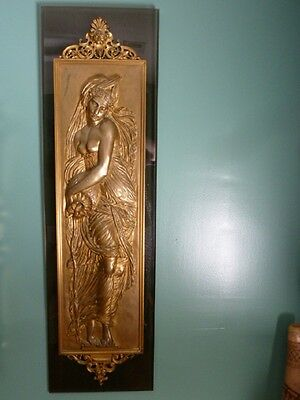 (bz-1) RARE pair of antique bronze sculpture maiden wall plaques F. Barbedienne
