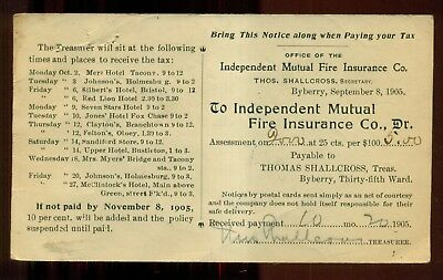 1905 Byberry,Philadelphia,PA - Ind. Mutual Fire Ins. Co. Tax Postal Card