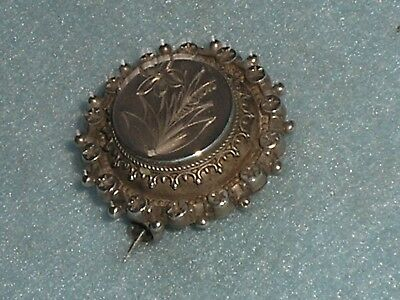 Antique Victorian STERLING SILVER ORNATE FOLIATE LOCKET MOURNING BROOCH PIN