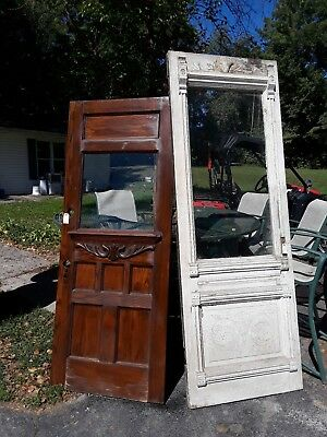 WHITE, Antique Carved Victorian Entry Door with Ripple Glass Very Nice
