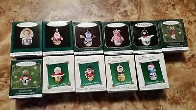 Hallmark Miniature Ornaments Lot Of 12, 11 CHRISTMAS BELLS & Welcome Sound Micke