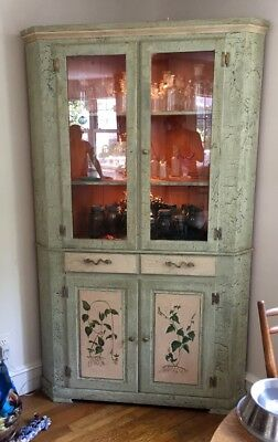 Hand painted corner cabinet corner hutch excellent condition