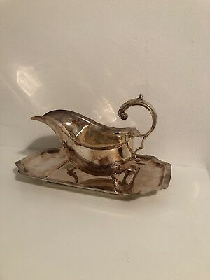 Antique Silver Plated Sauce or Gravy Boat on Ornate Paw Feet with Tray Stand