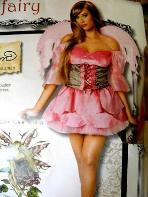 Woman's 10/12 Rose Fairy Costume Sexy Dress Wings Amy Brown Pink Flower