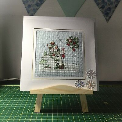 """completed cross stitch christmas cards (large 7.5"""" x 7.5"""") This is Hand Stitched"""