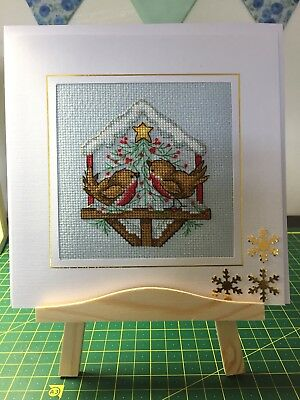 """completed cross stitch christmas cards (large 7.5"""" x 7.5"""")Hand Stitched & beaded"""