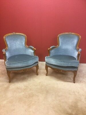 Pair Of Antique French Louis Style Upholstered Reproduction Armchairs  Sn-225