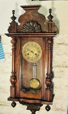VICTORIAN VIENNA WALL CLOCK with its TOP PEDIMENT in GOOD WORKING CONDITION